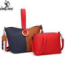 INONE Ladies Hand Bags PU Leather Bucket Women Messenger Shoulder Bag Crossbody 2 in 1 Tote Contrast Color Patchwork Handbag цена 2017