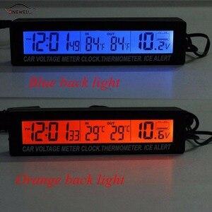 Image 1 - ONEWELL 3 в 1, высококачественные цифровые ЖК часы, экран, автомобильные часы, термометр, напряжение, двухцветные светящиеся часы