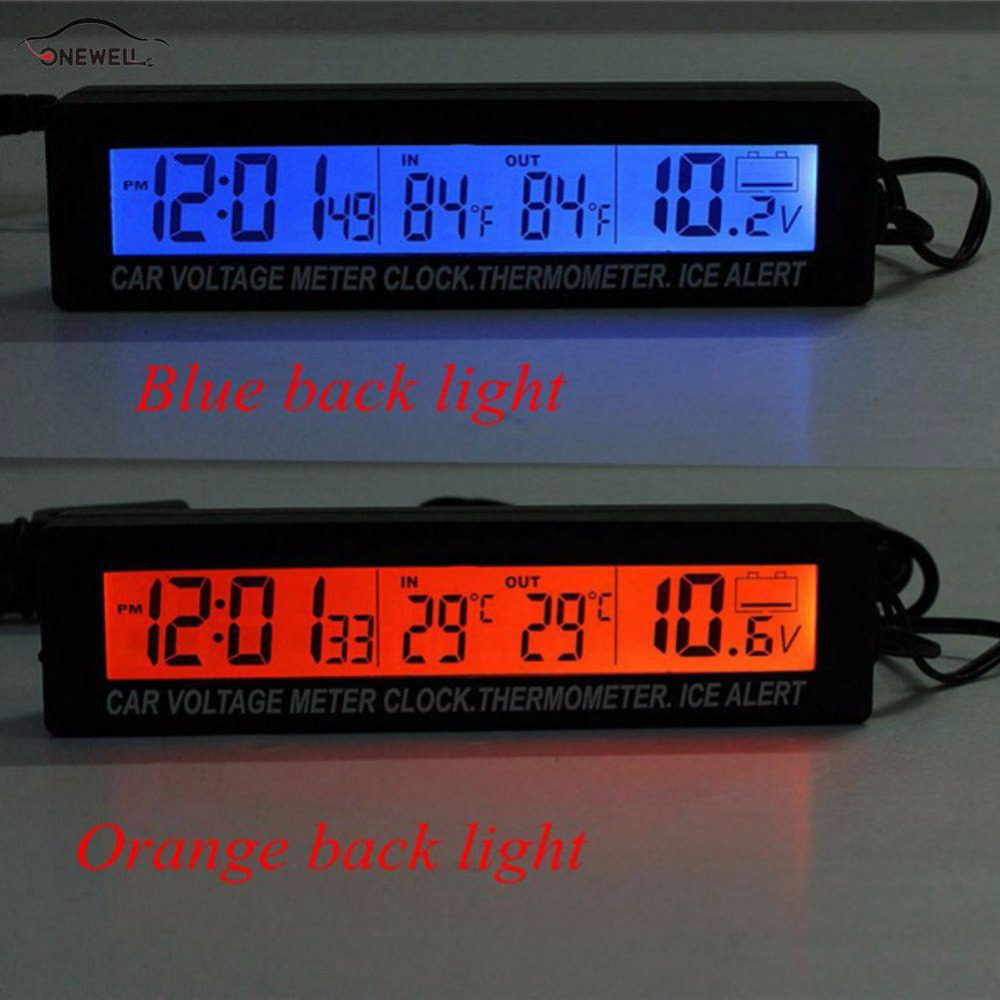 ONEWELL High Quality 3in1 Digital LCD Clock Screen Car Auto Vehicle Time Clock Thermometer Voltage Two-color Luminous 1 7 lcd car digital clock random color 2 x lr41