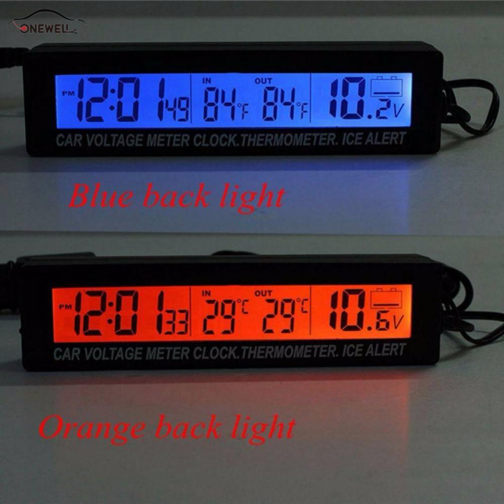 Onewell alta calidad 3in1 reloj digital LCD pantalla del coche del vehículo auto Time Clock termómetro voltaje de dos colores luminosos
