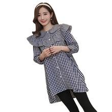 ba12e9c86 Pengpious 2019 mujeres embarazadas ropa suelta de manga larga ruffles collar  camisas de algodón de maternidad suelto casual Blus.