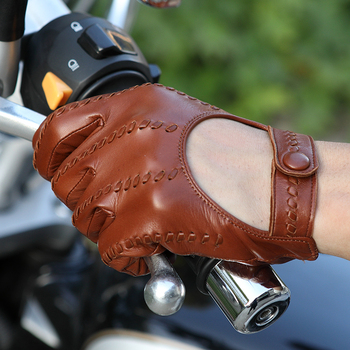 2020 Latest Real Leather Man's Gloves High Quality Imported Sheepskin Locomotive Driving Gloves Male Thin Unlined M063N-1 high quality half fingers deerskin gloves male locomotive real leather driving gloves men semi finger em088w