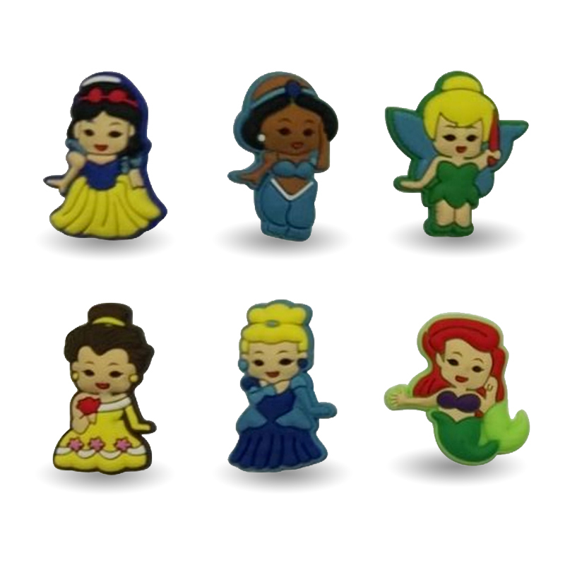 New Arrival 6pcs Cute Princess decoration PVC Pins badges brooches collection DIY charms Fit For Shoe Accessories Shoes Decor