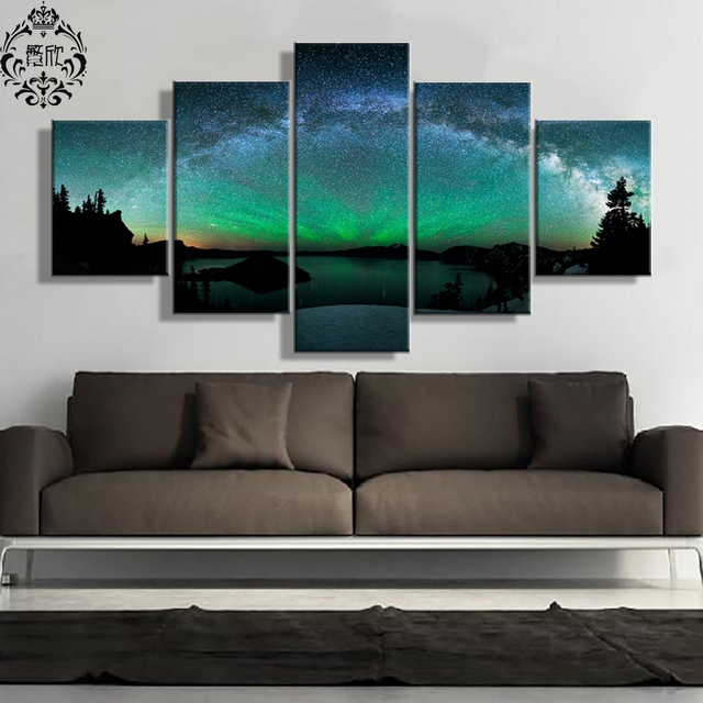 Painting Canvas Printed Pictures 5 Panel Wall Art Decoration Scenery Northern Lights Poster Home Decor Modern & Painting Canvas Printed Pictures 5 Panel Wall Art Decoration Scenery ...