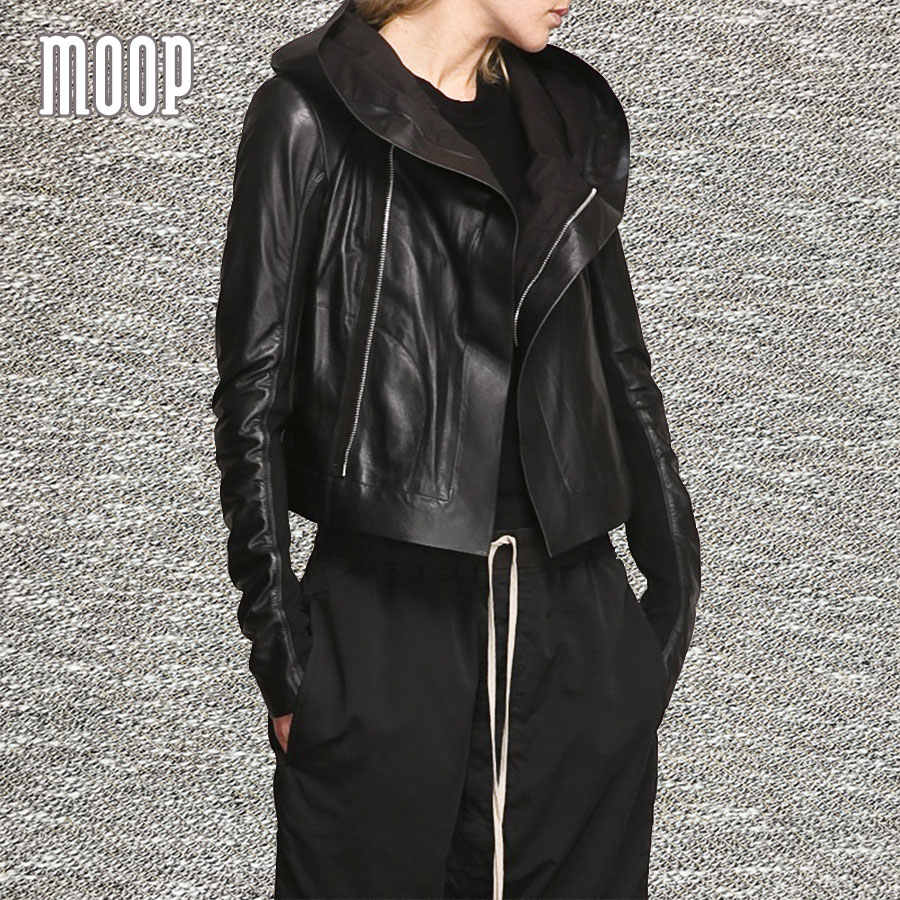 Black genuine leather coat women sleek sheepskin hooded motorcycle jacket elasticized rib knit panel at sleeves croped LT793