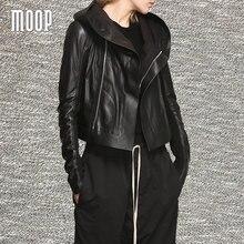 Black genuine leather coat women sleek Lambskin hooded motorcycle jacket elasticized rib knit panel at sleeves croped  LT793