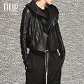 Negro de cuero genuino mujeres de la capa 100% de piel de cordero con capucha recortada chaqueta de la motocicleta moto chaqueta veste en cuir femme lt793 envío gratis