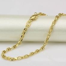 Tốt Au750 Bất 18 K Yellow Gold Chain Phụ Nữ Đàn Ông Stud Liên Kết Vòng Cổ 24 inch