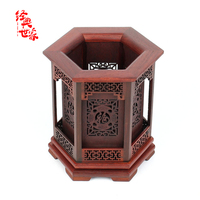 Chinese handmade wood carving Red acid wood pen brush holder pen container