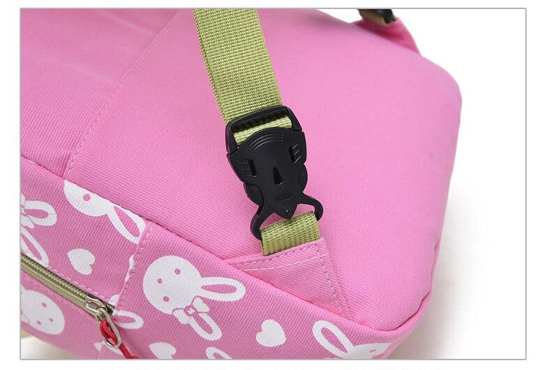 Children School Bags Cartoon Rabbit Bear Dolls Applique Canvas Backpack Mini Toddler Book Bag Baby Kindergarten Rucksacks
