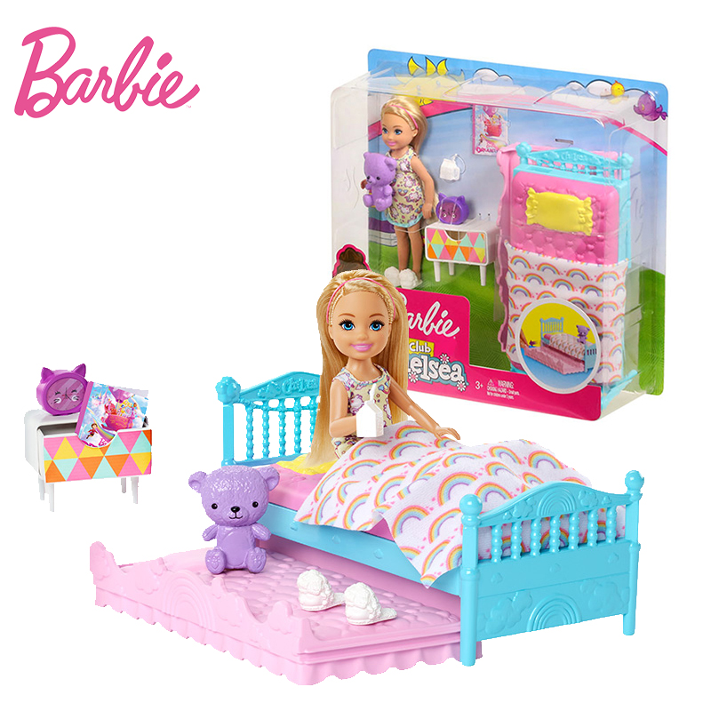 Original Barbie Chelsea Doll Boneca Baby Bed Time Feature Rainbow Mermaid Good Night Toys For Children Birthday Dolls For Girls Aliexpress