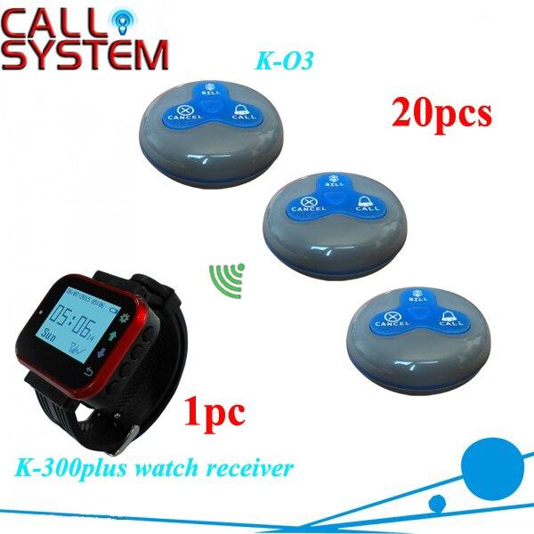 Беспроводной Подкачки системы для ресторанов 1 часы приемника 20 таблица зуммер для обслуживания