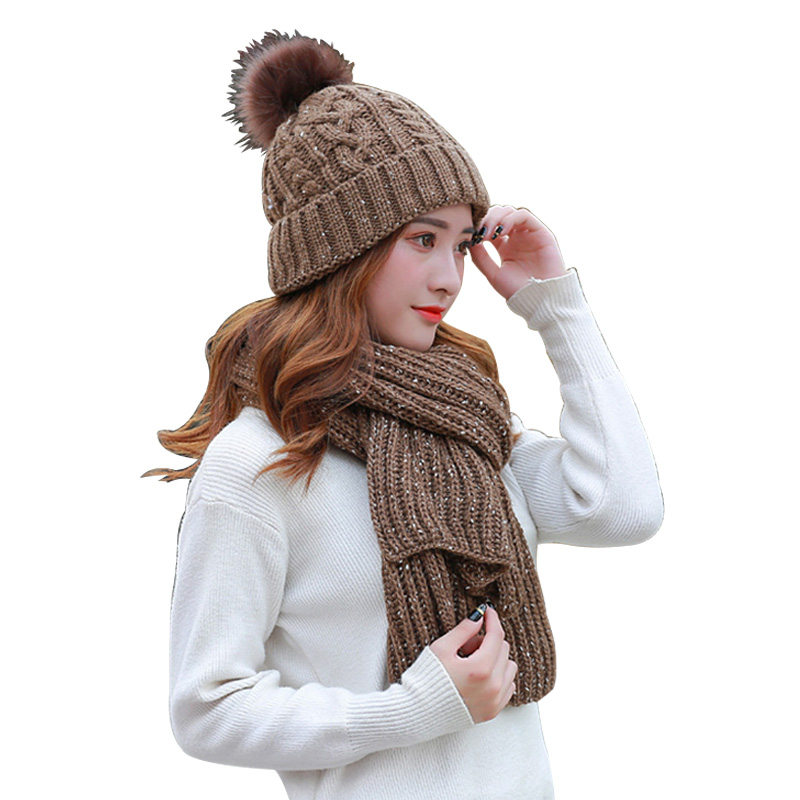 Hot Sale 2-Piece/Set Winter Hat And Scarf Women's Warm Scarves Cap Thick Knit Pompom Beanie Gift Set Cold Weather Girl For Hat