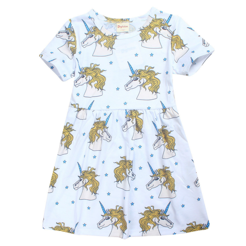 Summer Girl Dress Unicorn Dresses for Baby Girls Clothes Cotton Children Clothes Toddler Vestido Unicorns Print Princess Dress summer baby dress voile floral wedding dresses for girls toddler infant girl vestido infantil girls costume cute dress clothes