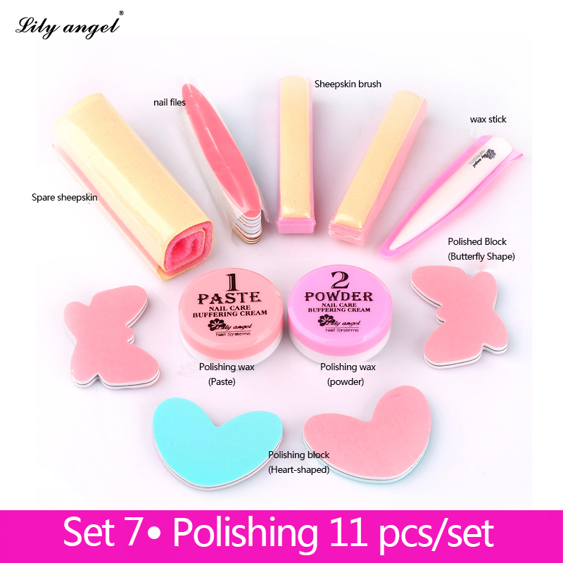 LiLy Angel 11Pcs/Set Nail Treatments&Conditioner&Care  Nail Polishing Paste&Powder Nail art Manicure Luster Buffing Full set