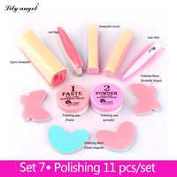 LiLy Angel 11Pcs/Set Nail Treatments&Conditioner&Care Nail Polishing Paste&Powder Nail art Manicure Luster Buffing Full set