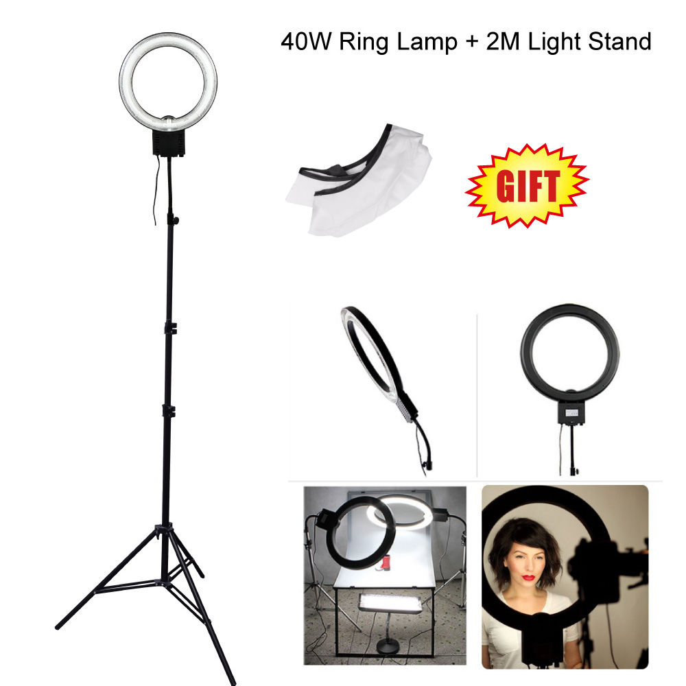 Studio 40W 5400K Daylight Fluorescent Ring Lamp Light with 2M 200cm Tripod Stand fr Photography Video Photo Selfie Lighting(RU)