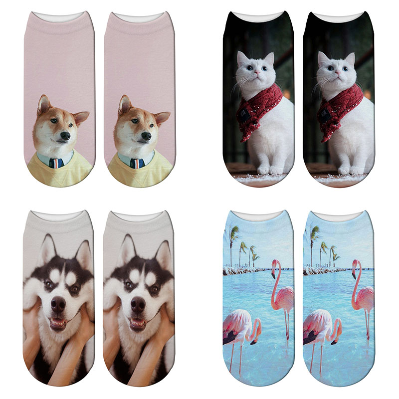 New 3D Printing Animals Women Socks  Fashion Funny Cat Dog Summer Beach Flamingo Socks Cute Cat Ankle Kawaii Pink Socks