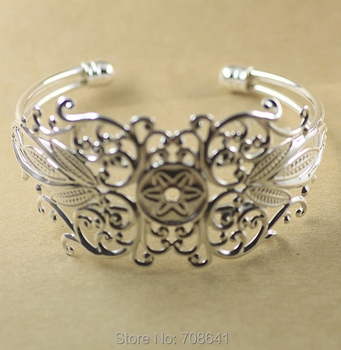 35x87mm New Silver Plated Brass Blank Hollow Filigree Flower Bezel Bases cuff Bracelet Bangle Settings DIY Findings Wholesale