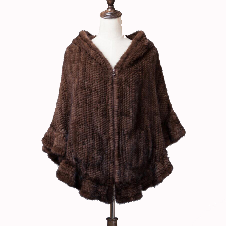 Real Mink Fur Shawl Promise Good Quality Real Knitted Mink Fur Cape Mink Fur Poncho Mink Tail Fur Shawl 2 Colors OEM