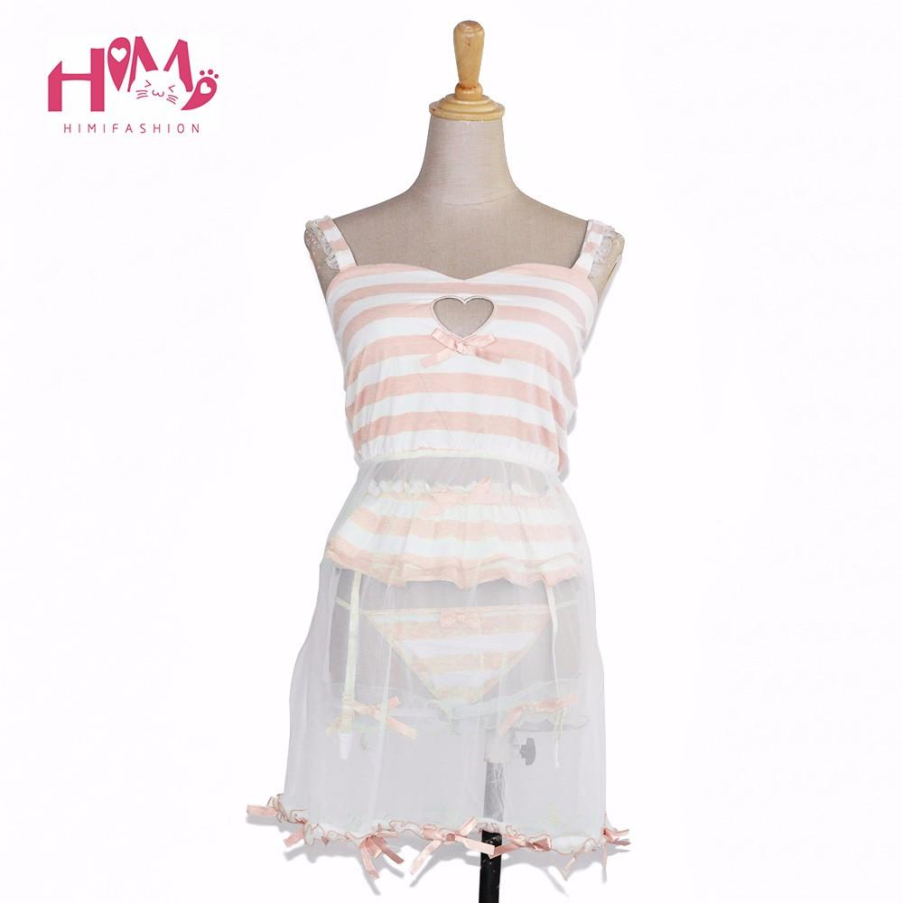 Cute love cut-out hollow out sexy lingerie pajamas pink modal dress + garter pants + lace leg ring blue stripe homewear women 2