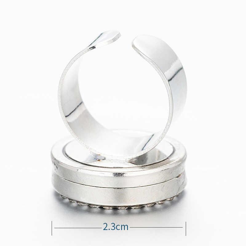 Difusor de aroma anel de cristal perfume óleo essencial anel ajustável ajuste masculino e feminino moda jóias enviar 1 feltro almofada ya7