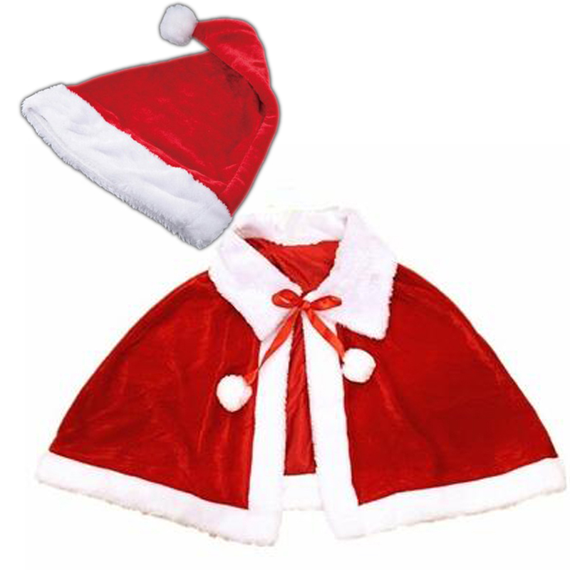 2018 Christmas Wear Santa Claus Cape Warming Velvet Cloak Xmas Hats Holiday Cospaly Costumes