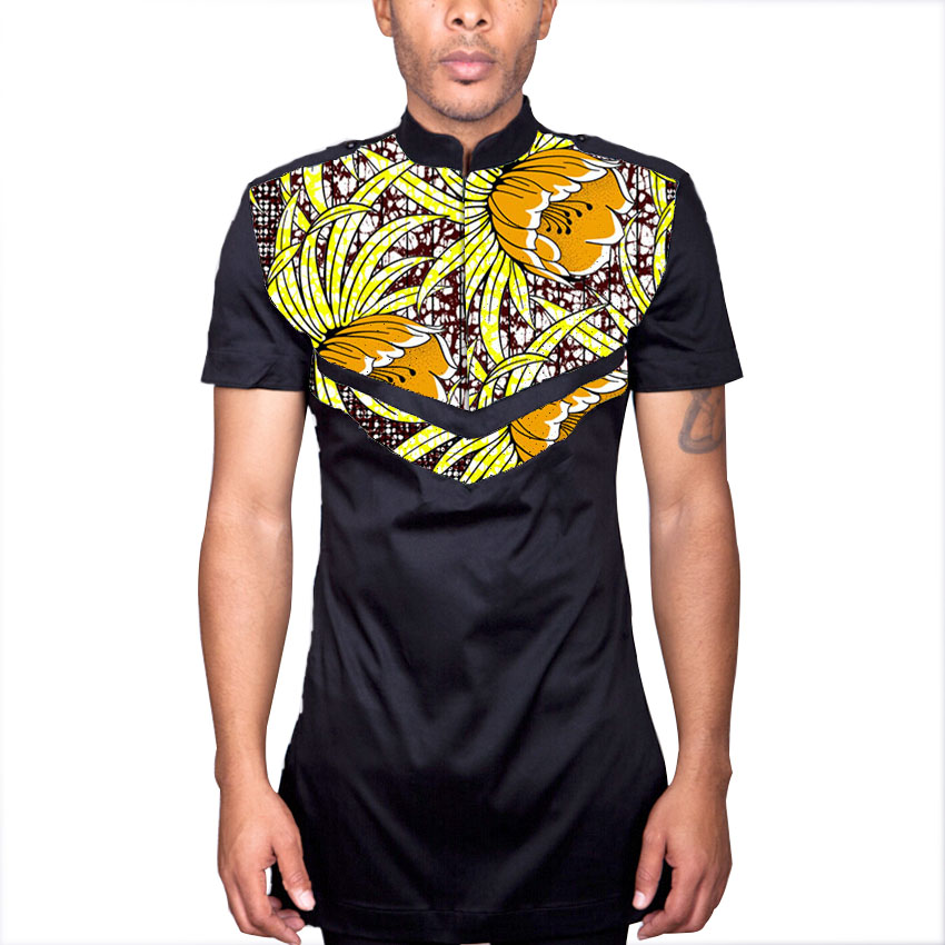 African mens tops with epaulet tailored african clothing men dashiki clothes fashion ankara prints short sleeve african shirt