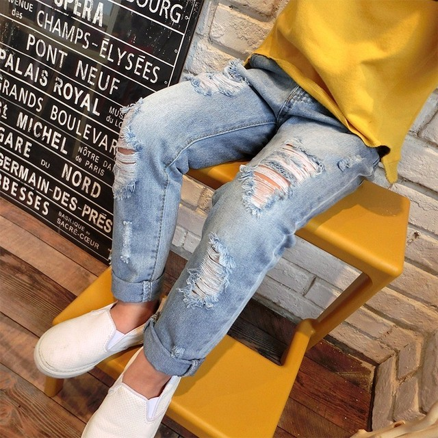 Moda Infantil Meninas Jeans Rasgado Calças Bolsos Do Vintage Macio Primavera Verão Outono Moda Calças Roupas Para Crianças