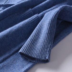 Image 5 - 2018 kobiet Cardigans 100% czystego kaszmiru swetry dziergane gorąca sprzedaż Vneck długi koreański styl topy kobieta standardowe topy dziewczyna swetry