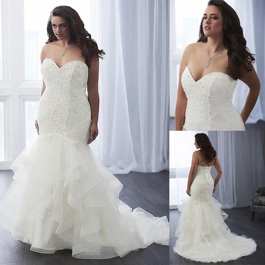 Modest Tulle Sweetheart Neckline Mermaid Plus Size Wedding Dress With Beaded Lace Appliques & Ruffles Organza Bridal Gowns