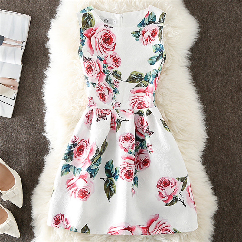 Fashion Summer Dress Women A-Line Flower Print Maxi Party Casual Vintage Dresses Elegant Sleeveless Ladies Dress Vestidos Q305
