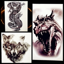 3D Dinosaur Temporary Tattoo For Women Arm Leg Men Fake Tatoo Waterproof Jurassic Body Art Temporary Tattoo Sticker Dragon