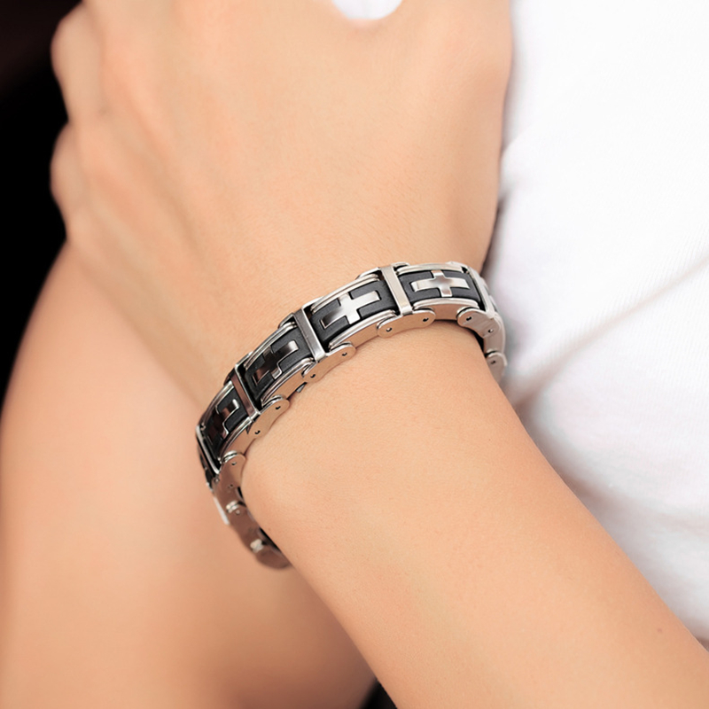 Misheng Mens Charm Bracelets Fashion 2019 Stainless steel silicone Black Cross Simple Atmosphere High Quality Wrist Accessories