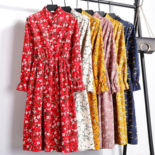 Summer style women dress 2019 fashion long sleeved v-ncek vintage pring frolar casual chiffon Party midi dresses female vestidos