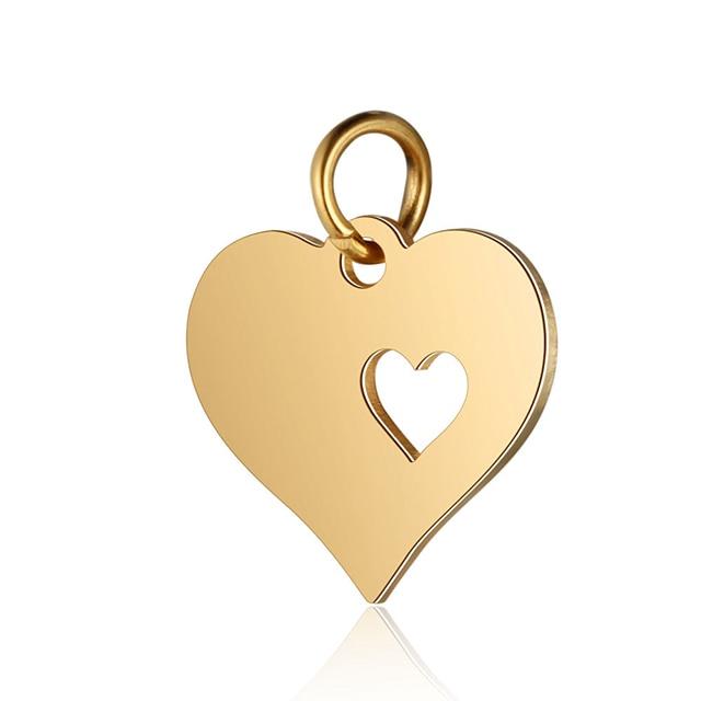 5 шт., подвеска в виде сердца из нержавеющей стали золотого цвета для самодельных шармов, ожерелья и браслеты, фурнитура для изготовления ювелирных изделий, аксессуары - Цвет: Gold
