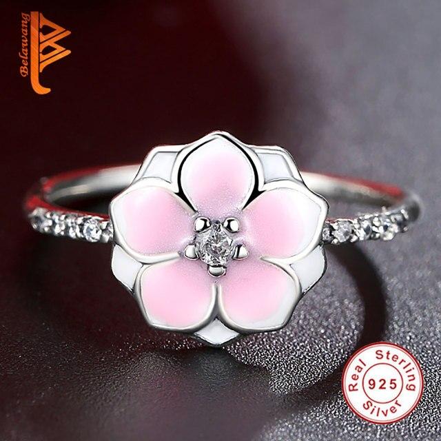 BELAWANG Modo Reale Dell'argento Sterlina 925 Magnolia Fiore, Pallido Cerise Smalto e Rosa CZ Anelli di Barretta Monili D'argento per Regalo delle donne