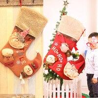 79cm New Creative Large Christmas Stockings Santa Cloth Art Bag Hang Xmas Gift Decoration For Home