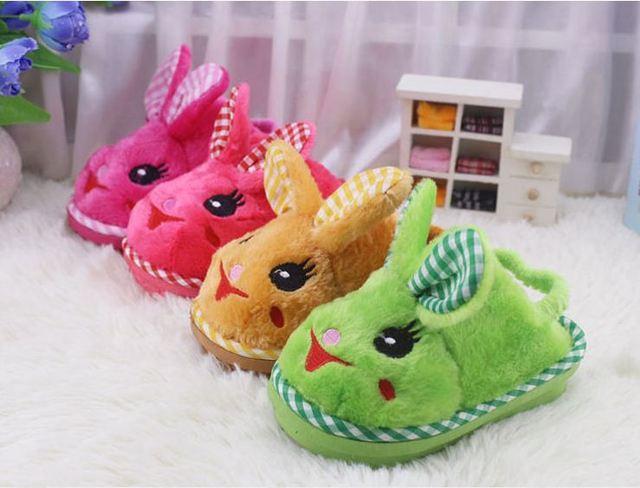 Children'S Winter Slipper Baby Boy Warm Cotton Slippers Shoes Kids Girls Cute Little Bunny Slippers Cartoon Velvet  Home Shoes