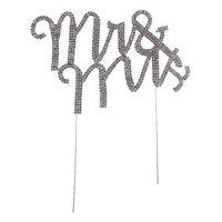 Sıcak 1 adet Mr/Mrs Doğum Günü Pastası Partisi Topper Eğlendirmek Düğün Dekorasyon Gümüş Festivali Glitter Yıldönümü Malzemeleri