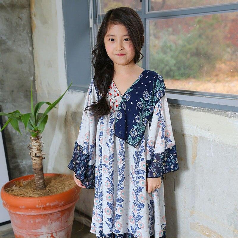 ФОТО new maxi long flowers print girl dresses chiffon spring summer 2017 beach long sleeve kids dress girls holiday children clothing