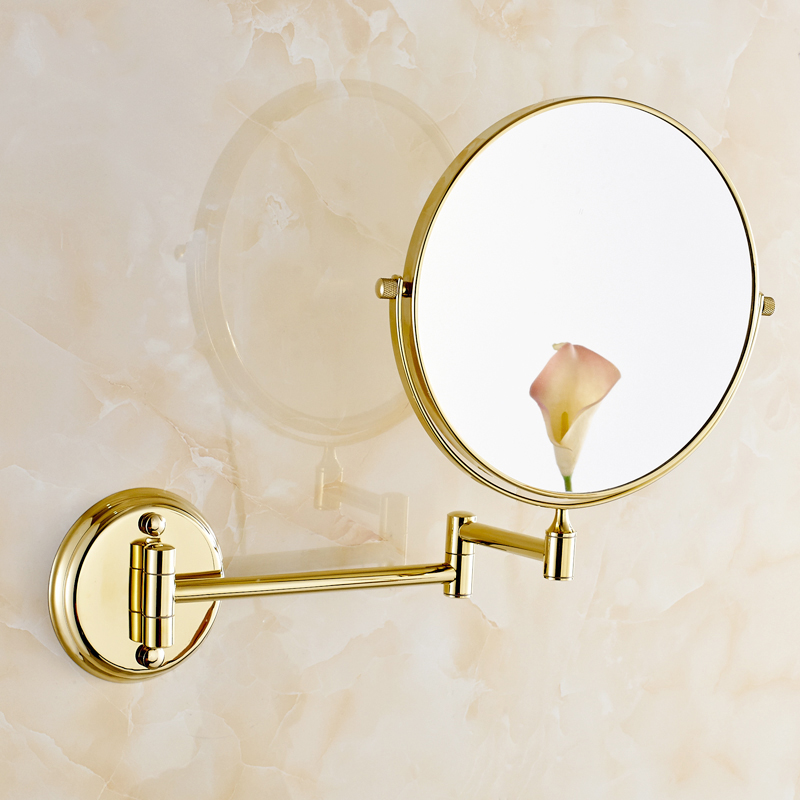 Bath Mirrors 8inch Dual Golden Makeup Mirrors 1x3 Magnifying Copper Cosmetic Bathroom Double Faced Wall Mount ath Mirror 1308A narcyz new shower faucet set bathroom faucet chrome finish mixer tap w abs handheld shower wall mounted xt323