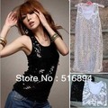 Spring Women Glitter Sequins Sleeveless Tank Top 5 Colors Ladies vest sex retail +free shipping