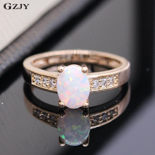 GZJY Best Gift Beautiful Romantic Lab-created White Fire Opal Champagne Gold Color Ring For Women Anniversary Ring