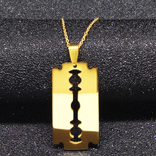 2017 Cool Razor Blades Stainless Steel Necklaces Men Jewelry Hight Quality Shaver Shape Necklaces Pendants Free