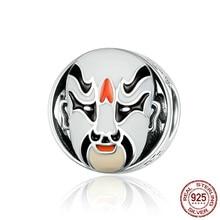 925 Sterling Silver Traditional Beijing Opera Facial Makeup Enamel Mask Beads For Original Charm Bracelet Scc1193