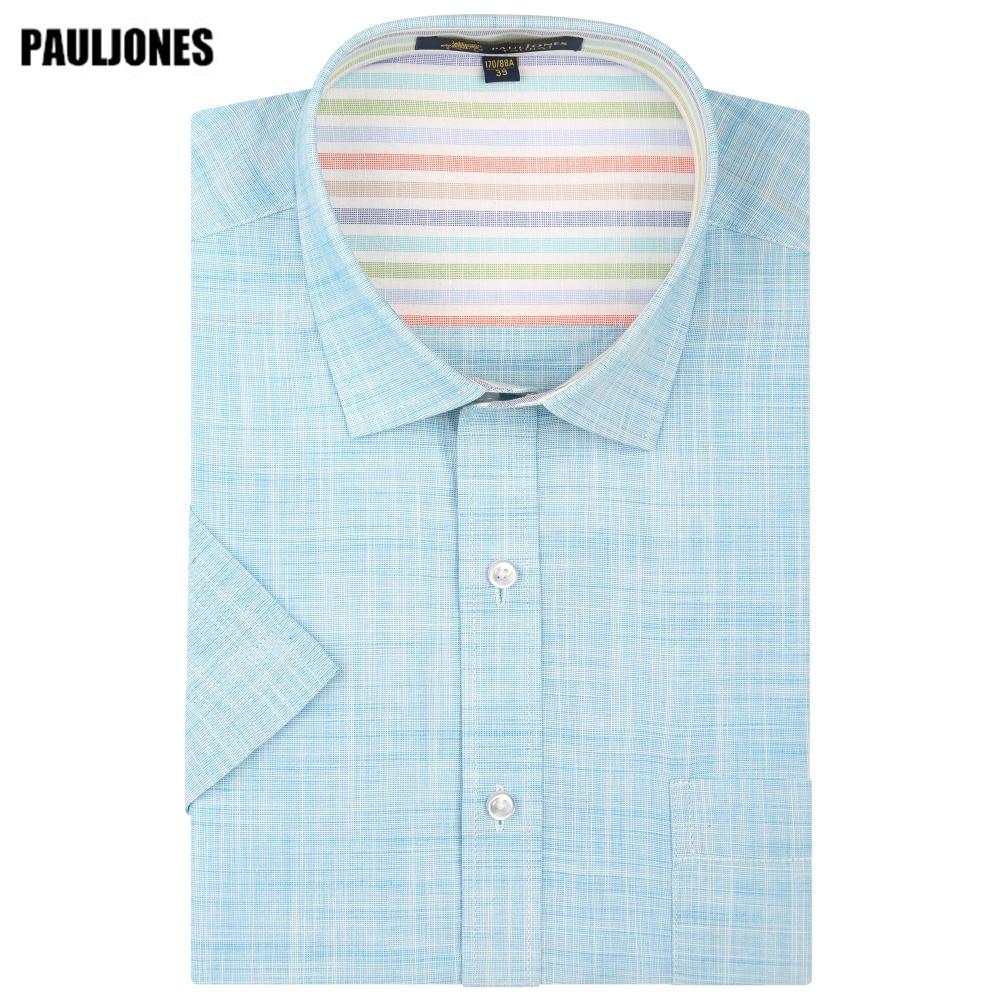 PaulJones D41xx 한국어 슬림핏 남성 린넨 셔츠 남성 캐주얼 드레스 브랜드 고품질 망 여름 짧은 소매 가져온 된 옷