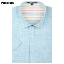 PaulJones D41xx Korean Slim fit Men Linen Shirts Male Casual Dress Brand High Quality Mens Summer Short Sleeve Imported Clothes