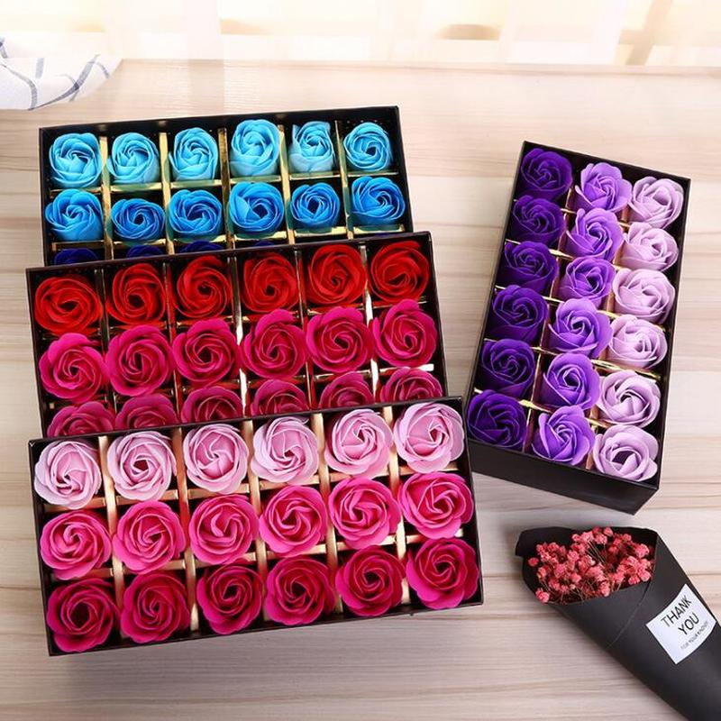 18pcs! Romantic Gradient Soap flower Rose simulation rose for Wedding Party Valentines Day Gift Adult Child Hand Washing Soaps