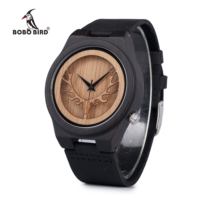 BOBO BIRD Hollow Skeleton Engraved Deer Head Bamboo Wood Watch Japan Movement 2035 Quartz Watch with Leather Strap for Mens  bobo bird f08 mens ebony wood watch japan movement 2035 quartz wristwatch with leather strap in gift box free shipping